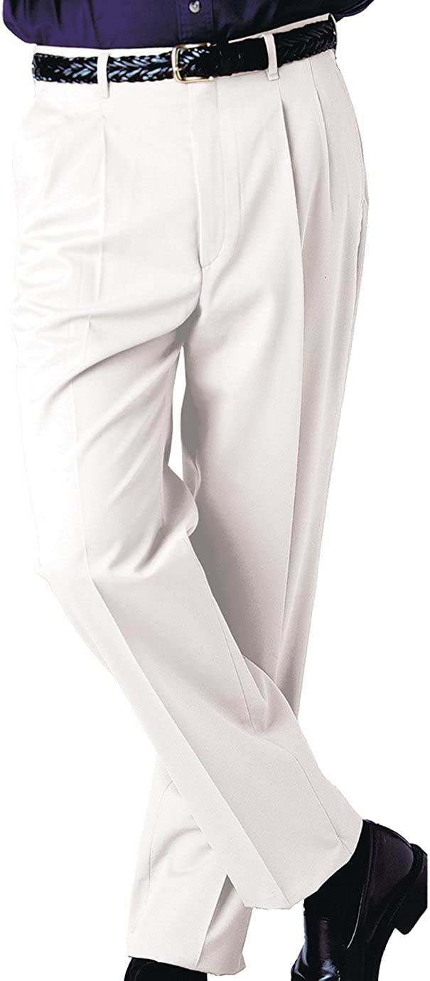 44 UL Ed Garments Mens Tall Business Casual Chino Pleated Pant White