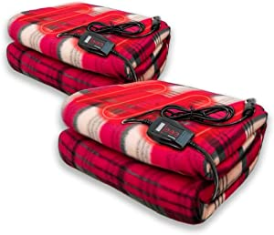 Zento Deals - 2-Piece Set 12V Electric Blanket -Red Plaid Premium Quality Blanket for Cold Days and Nights Road Trip, Home and Camping Comfy Protector