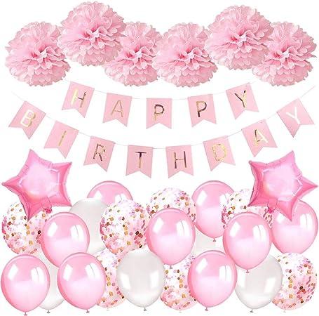 Decoration Anniversaire Fille 1 An Deco Anniversaire Fille Kit Avec Joyeux Anniversaire Bannière Ballons Sertie De Ballons Rosesballons Confettis Et