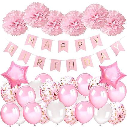 Decoration Anniversaire Fille 1 An Deco Anniversaire Fille Kit Avec Joyeux Anniversaire Bannière Ballons Sertie De Ballons Roses Ballons Confettis Et