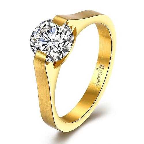 J.Band Amor Eterno Mujeres Boda Compromiso Anillos Acero Inoxidable Cz Diamantes Marcas Solitarias Princesa