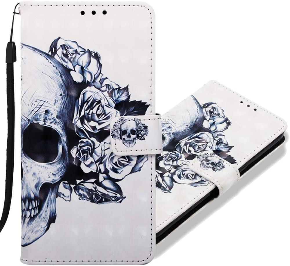MRSTER Funda para Honor 8X, 3D Moda Carcasa Libro Flip Case Antigolpes Cartera PU Cuero Funda con Función de Soporte para Huawei Honor 8X. YB Skull Flower