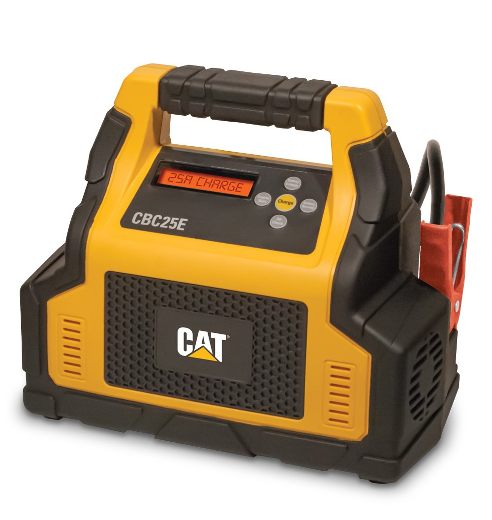 CAT CBC25E Fully Automatic 25 Amp 12V Rolling Battery Charger/Maintainer with 75A Engine Start, Alternator Check, Cable Clamps