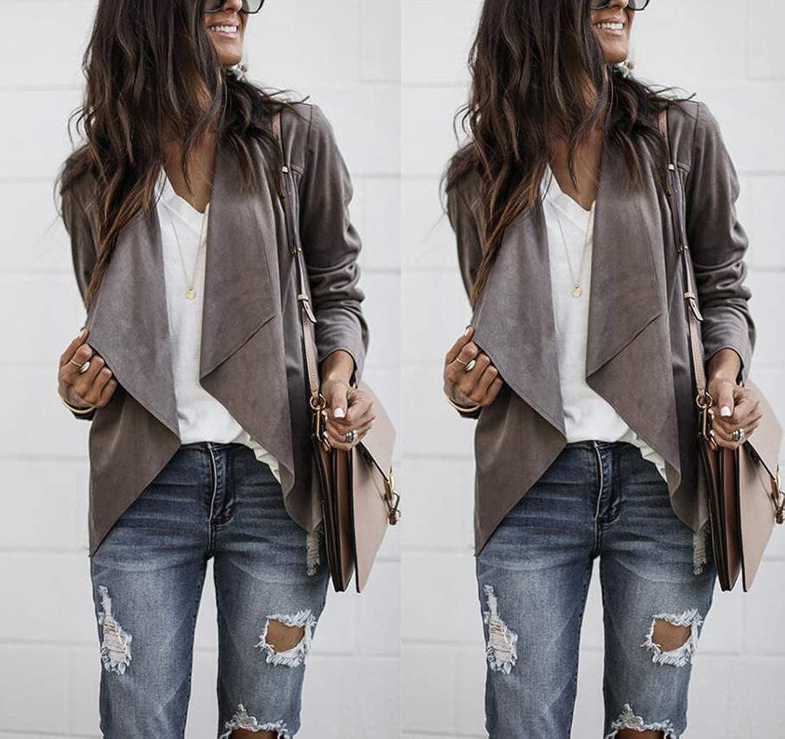 Womens Draped Front Faux Suede Jacket Cardigan Blazer Solid Coat Tops Outwear
