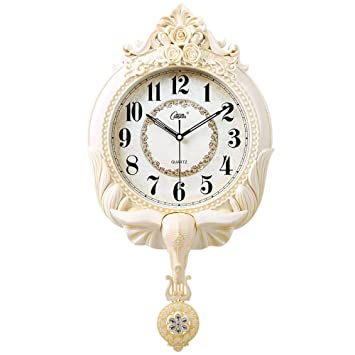 ANDE Retro Relojes de pared Swing, madera artesanal cuarzo movimiento Silencioso columpio reloj de péndulo dormitorio sala de estar pared de la cocina ...