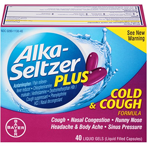 Alka-Seltzer Plus Cold and Cough Liquid Gels, 40 Count (Cold Sinus Seltzer Alka And)
