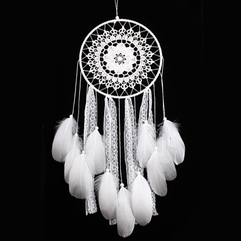Handmade Medium Large Dream Catchers Decor for Room White Feather Lace Wall Hanging Ornament Decoration