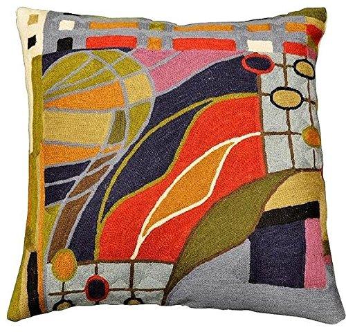 Kashmir Designs Hundertwasser Biomorph II Cushion Cover Hand Embroidered 18