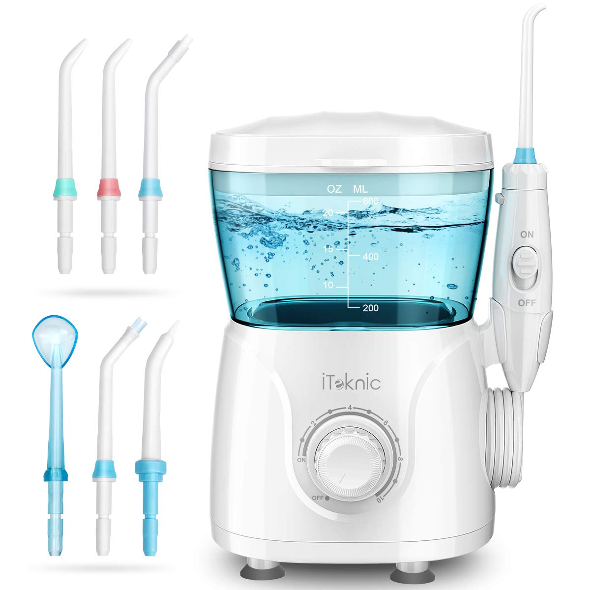 Idropulsore Dentale Professionale iTeknic Irrigatore Dentale Elettrico Irrigatore Orale con 7 Beccucci Intercambiabili, 10 Impostazioni di Velocità e Serbatoio da 600ml per Pulizia Dentale Igiene Dentale