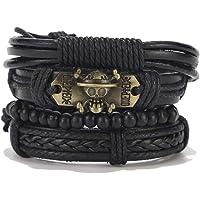 Tuccpai Punk Leather Bracelet Men's and Women's Wood Bead Cuff Bracelet Braided Adjustable Bracelet