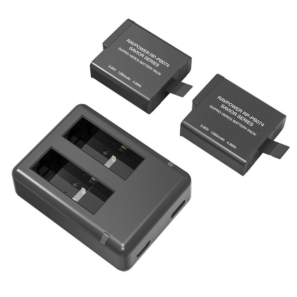 RAVPOWER Baterías de GoPro Hero 5/Hero 6, Baterías de Reemplazo de 1260 mAh de 2 y Cargador, con Entradas Micro USB y Tipo C