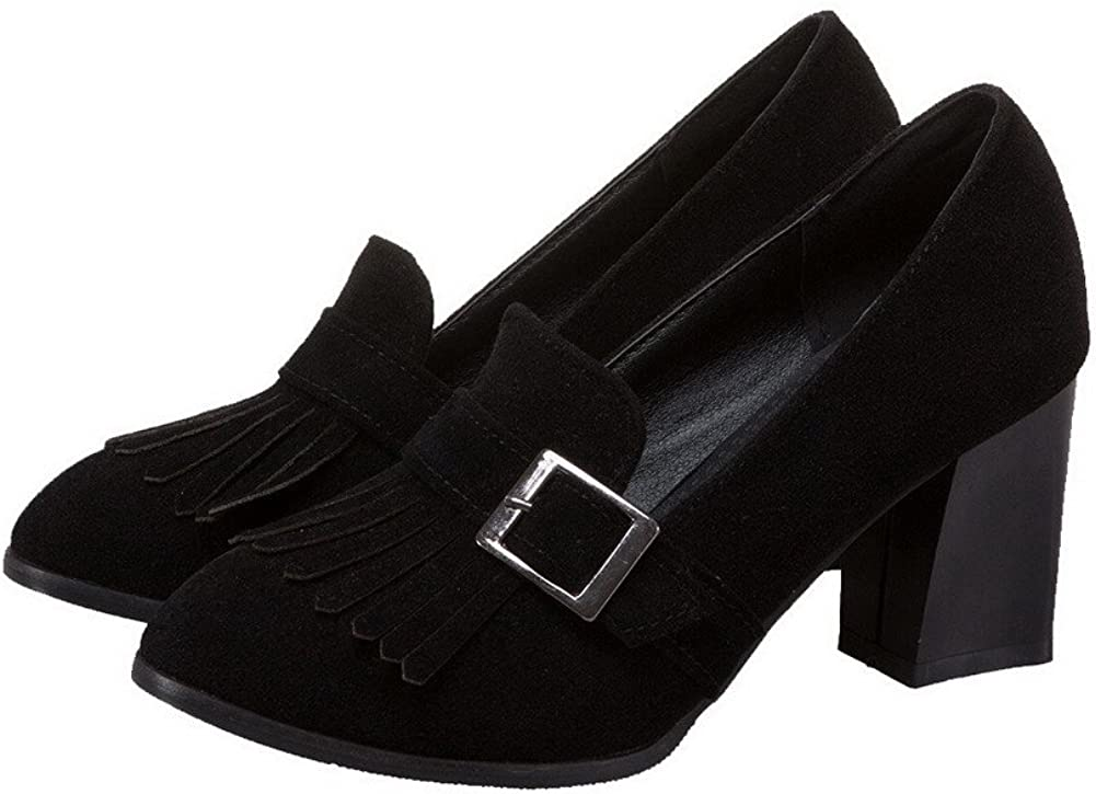 AgooLar Femme Rond Dépolissement Tire à Talon Haut Chaussures Légeres, GMBDB087431 Noir