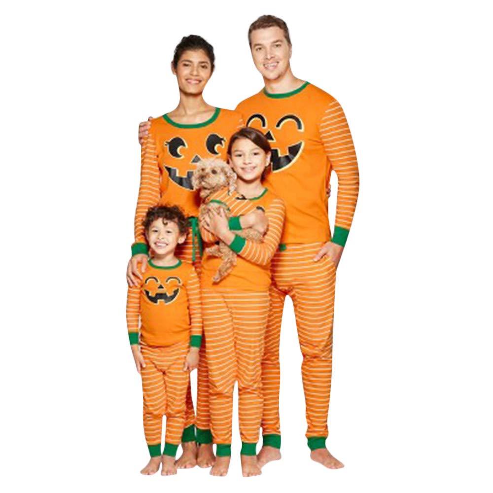 BYSTE Pigiami Famiglia Coordinati Manica Lunga Zucca Pigiama Top Pantaloni Pajama a Righe Set per Bambini di Famiglia papà Mamma