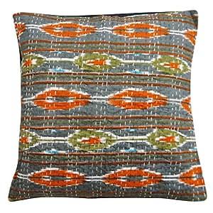 "Home Décor Kantha Stitch Gray Cushion Cover 40 Cm Pure Cotton Pillowcase Throw 16"" X 16"" India Gift"
