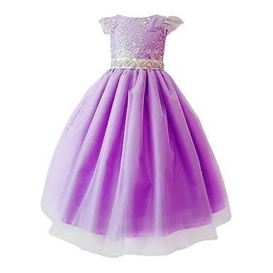89e7c043fd1d8 Little Girls Purple Glitter Embroidered Floral Belt Flower Girl Dress 2