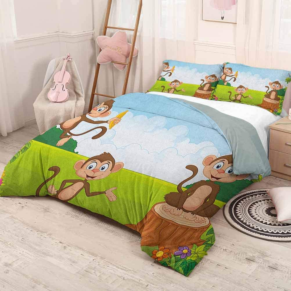 prunushome Nursery 3-Piece Duvet Cover Bedding setThree Monkeys Playing in a Tropical Forest Banana Africa Safari Nature Modern Quilt Cover Decor Pale Blue Brown Green California King