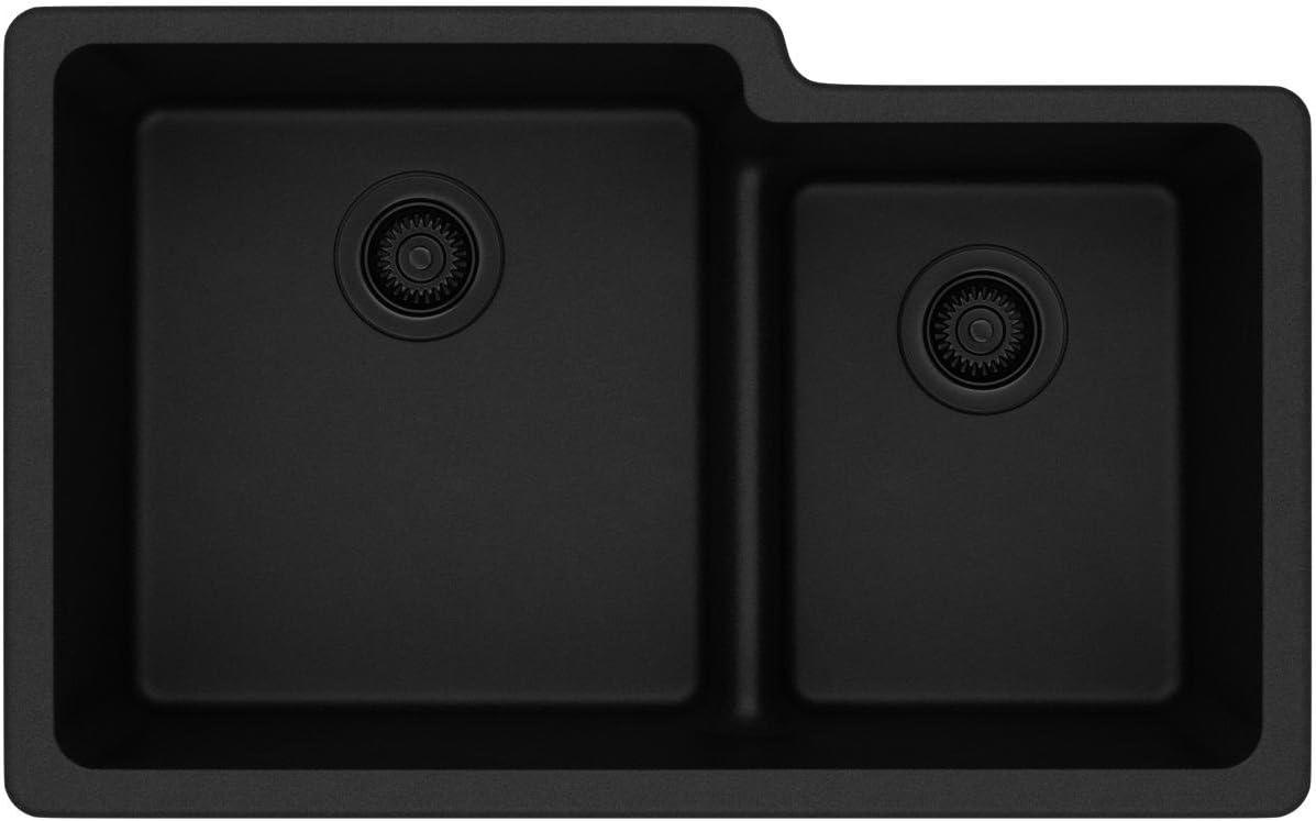 Elkay Quartz Classic ELGULBO3322BK0 Black Offset 60 40 Double Bowl Undermount Sink with Aqua Divide