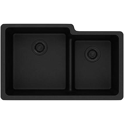 Elkay Quartz Classic ELGULBO3322BK0 Black Offset 60/40 Double Bowl Undermount  Sink With Aqua Divide