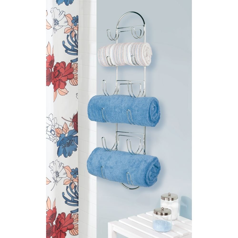 Amazon.com: mDesign Wall Mount Metal Wire Towel Storage Shelf ...