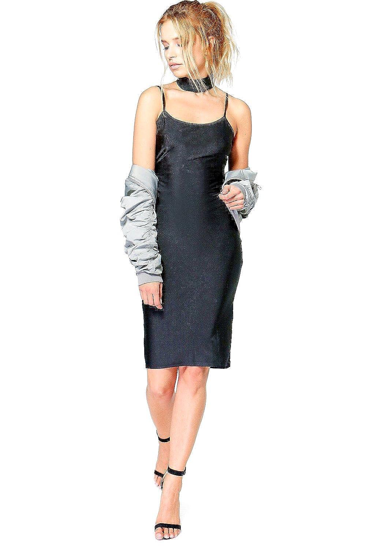 Black Womens Elvira Slinky Choker Midi Bodycon Dress