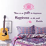 Wall Decals Quote There is no Path to Happiness. Happiness is the path. Buddha Lotus Flower Wisdom Yoga Zen Meditation Eastern Art Design Nursery Bedroom Living Vinyl Sticker Home Décor Murals M257