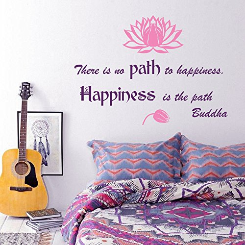Wall Decals Quote There is no Path to Happiness. Happiness is the path. Buddha Lotus Flower Wisdom Yoga Zen Meditation Eastern Art Design Nursery Bedroom Living Vinyl Sticker Home Décor Murals M257 by DecalStoreVienna