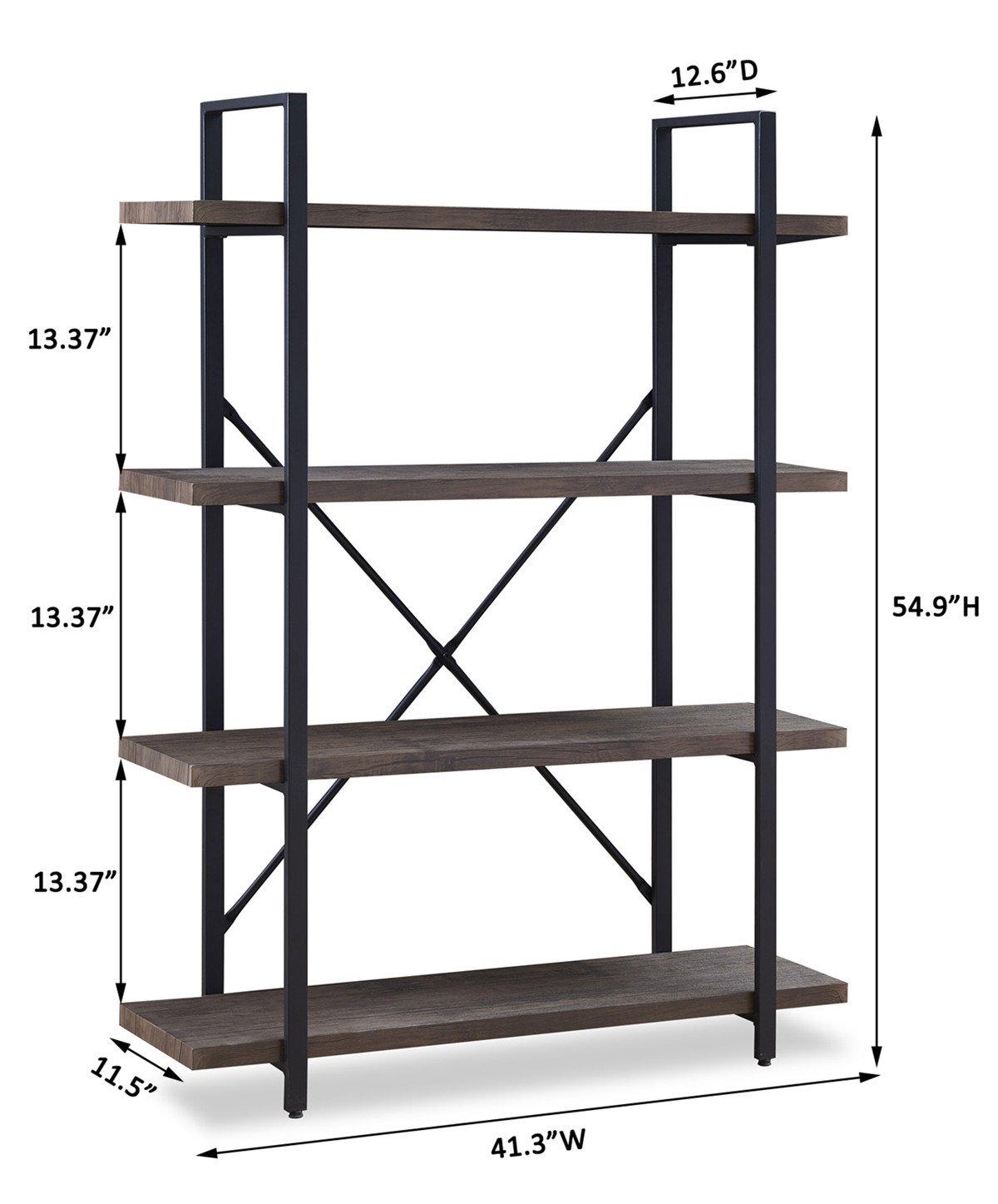 O&K FURNITURE 4-Shelf Vintage Industrial Bookcase, Display Rack Stand Storage Shelving Unit, Gray-Brown by O&K FURNITURE (Image #5)