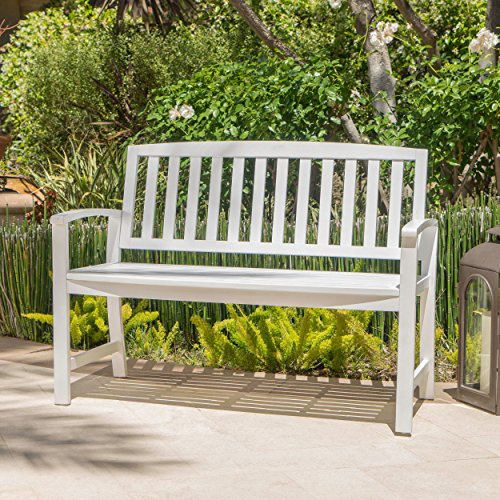 Laguna Outdoor Patio Acacia Wood Bench (White)