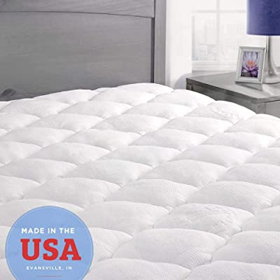 ExceptionalSheets Bamboo Mattress Pad with Fitted Skirt - Extra Plush Rayon from Bamboo Cooling Topper - Hypoallergenic - Made in The USA, King Size