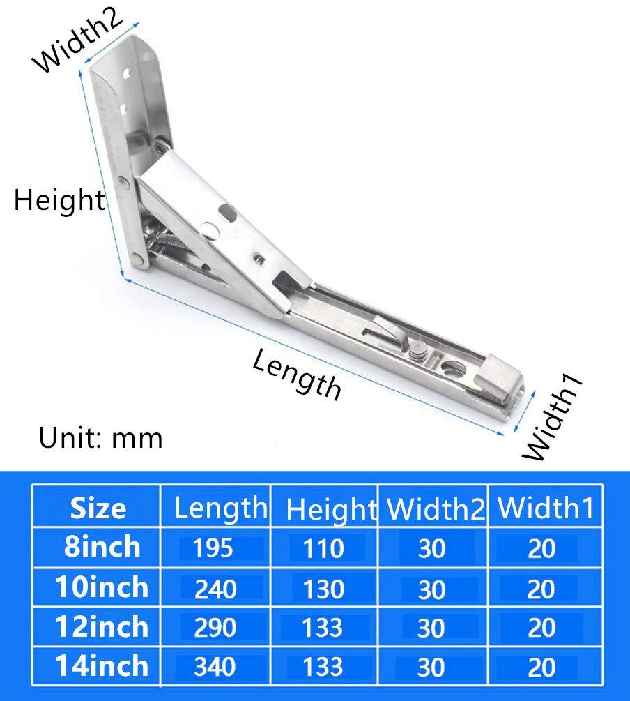 14 Soportes de estante plegable Acero inoxidable de servicio pesado 60 KG 130 lb Carga m/áxima paquete de 2
