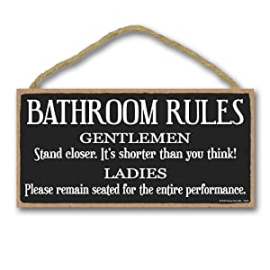 Honey Dew Gifts Home Decor, Bathroom Rules Gentlemen and Ladies 5 inch by 10 inch Hanging Wood Sign, Bathroom Sign