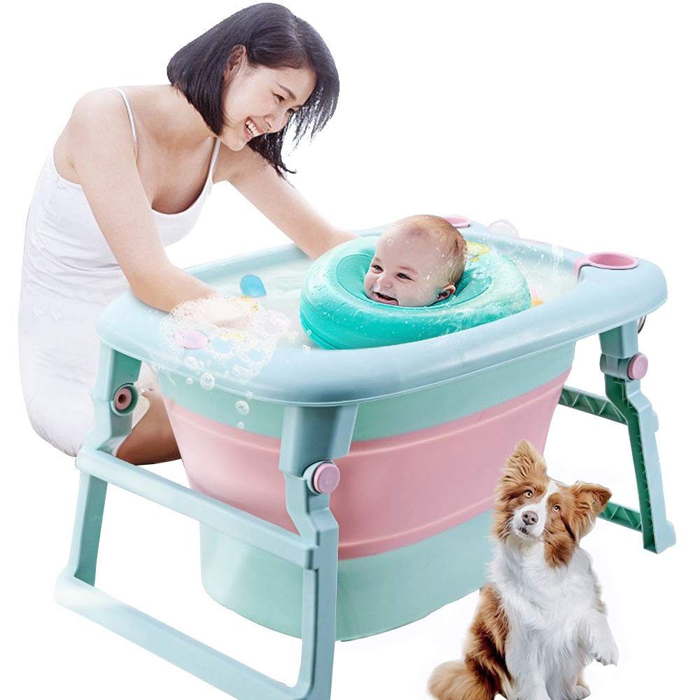 3-in-1 Baby Bath Tub Portable Toddler Collapsible Bathtub Infant Shower Basin Anti Slip Skid Proof for 0-10 Years by UNAOIWN