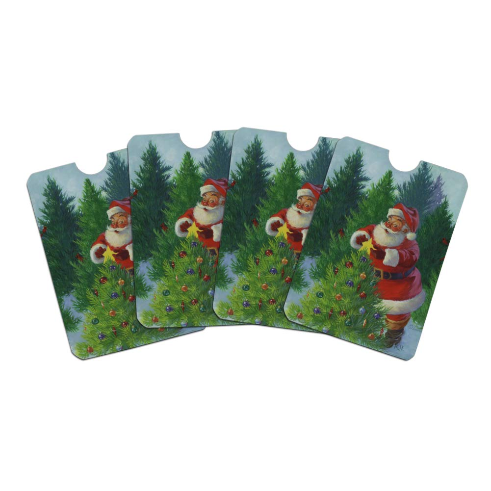 de7348da033d Christmas Holiday Santa Claus Trees Credit Card RFID Blocker Sleeves ...