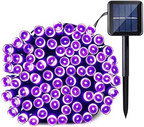 Qedertek Solar Halloween String Light, 39ft 100 LED 8 Modes Light Sensor Control Waterproof Decorative Ambiance Light for Patio,Lawn,Garden,Fence,Balcony,Party,Holiday,Christmas Decorations Purple