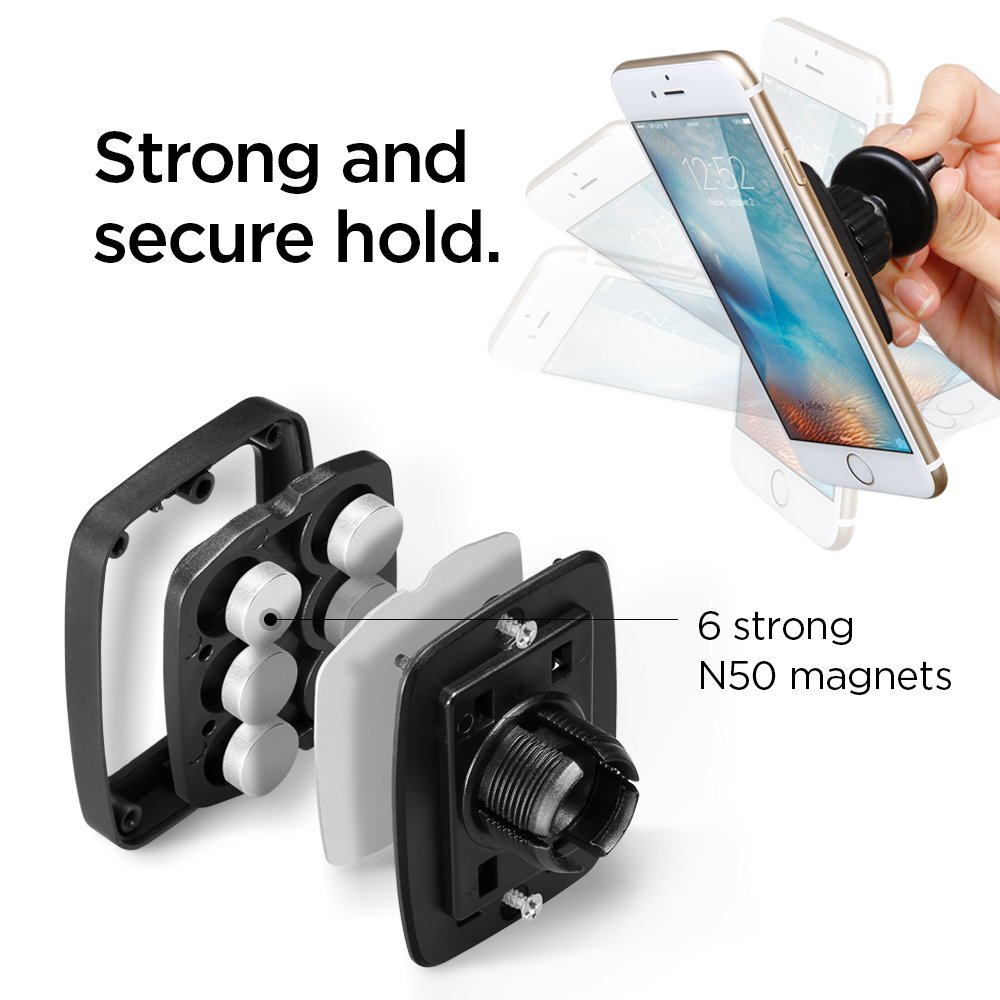 Spigen Kuel A201 Car Phone Mount Premium Magnetic Air Vent Phone Holder Compatible with iPhone X / 8/8 Plus / 7/7 Plus/Galaxy S9 / S9 Plus/Note 8 / Note 9 / S8 / S8 Plus & More by Spigen (Image #5)