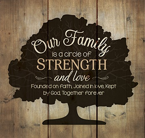 Religious Decor (Our Family Circle of Strength Rustic Tree 10 x 10 Wood Pallet Design Wall Art Sign Plaque)