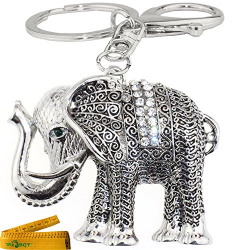 Bling Bling Crystal Rhinestone Graven 3D Cubic Metal Keychain Car Phone Purse Bag Decoration Holiday Gift Elephant (Silver)