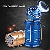 Dressffe Rechargeable Solar Ultra Bright Led Camping Lantern Portable Outdoor LED Lights with Ceiling Fan for Hiking Camping Hunting Fishing Emergencies (gold)