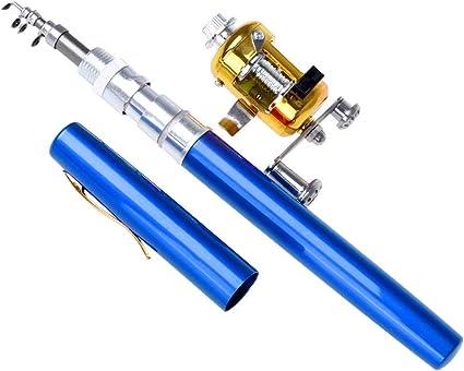 Mini Portable Pocket Aluminum Alloy Pen Ice Fishing Rod Telescopic Pole Reel Kit