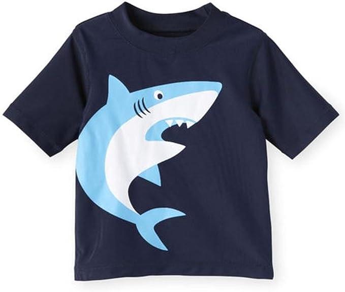 Rash Guard Short Sleeves Cartoon Shark Print Swimwear with Cap ACSUSS Kids Boys 2 Pieces Tankini Swimsuit UPF 50