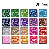 BESTOYARD Multi-Colored Ink Pads Stamp Pads for DIY Craft Scrapbook Rainbow Finger Paint Ink Pad Set 20Pcs