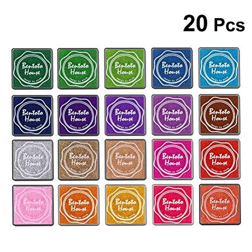 BESTOYARD Multi-Colored Ink Pads Stamp Pads for DIY Craft Scrapbook Rainbow Finger Paint Ink Pad Set 20Pcs by BESTOYARD