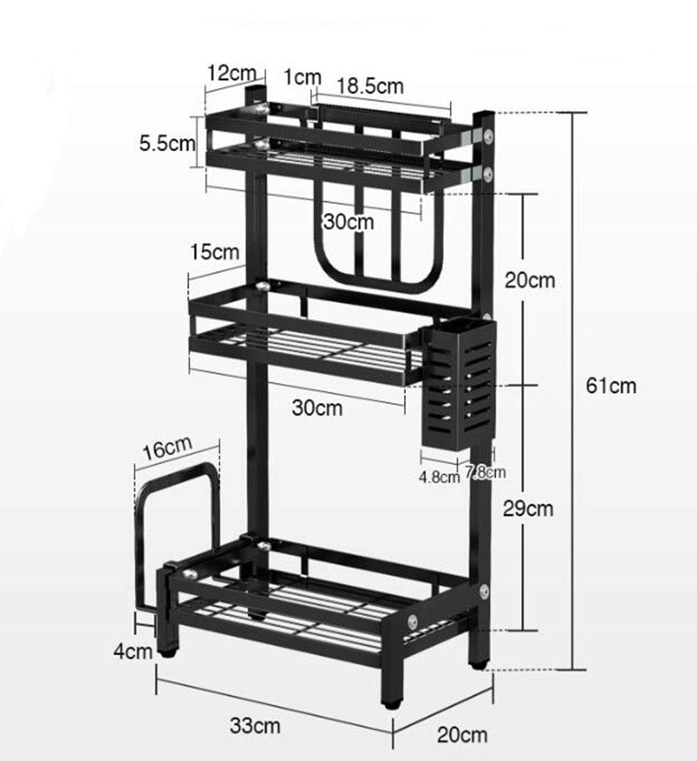 Stainless steel kitchen shelf home condiment storage shelf 3341.720cm 336120cm (Color : 613320cm)