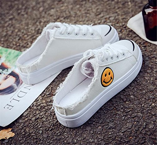 Casual Cut White up Shoes Slip Solid Lace Sneaker Womens on Canvas Running Low Platform RgTWn06p