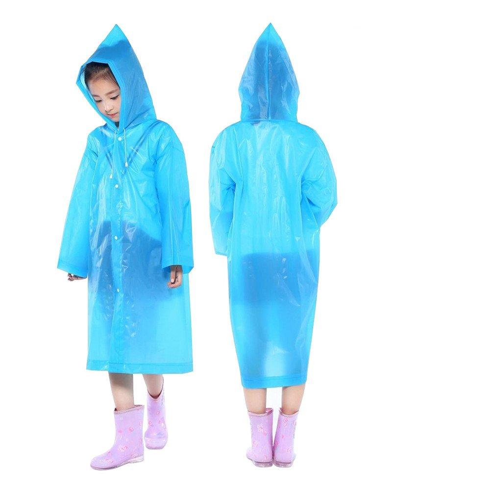 DEWEL Rain Poncho 4 Pack Reusable Eva Raincoat Hat Adult Children Outdoor (Children)