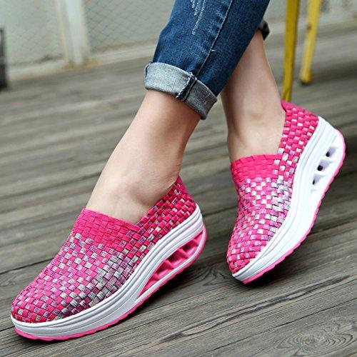 Snbling Donne Sneakers Fatte A Mano Scivolano Sul Tacco Basso Scarpe Basse In Tessuto Traspirante Rosso Rosa