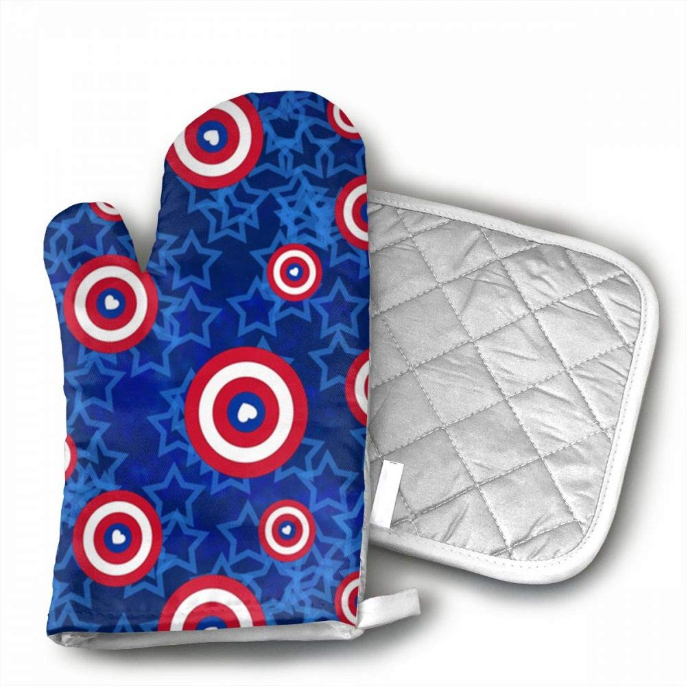 InsulatedMitt59 Superhero Love Tiny But Mighty Oven Mitts, Non-Slip Silicone Oven Mitts, Extra Long Kitchen Mitts, Heat Resistant to 572¡ãF Kitchen Oven Gloves