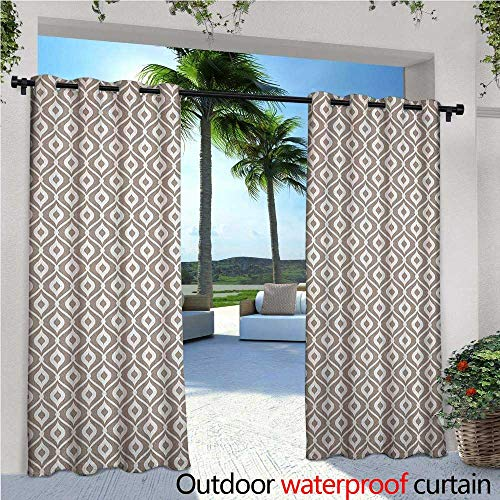(familytaste Abstract Indoor/Outdoor Single Panel Print Window Curtain Waves Curvy Motifs Mosaic Tile Pattern Old Fashioned Design with Retro Effect Silver Grommet Top Drape W108 x L108 Taupe)