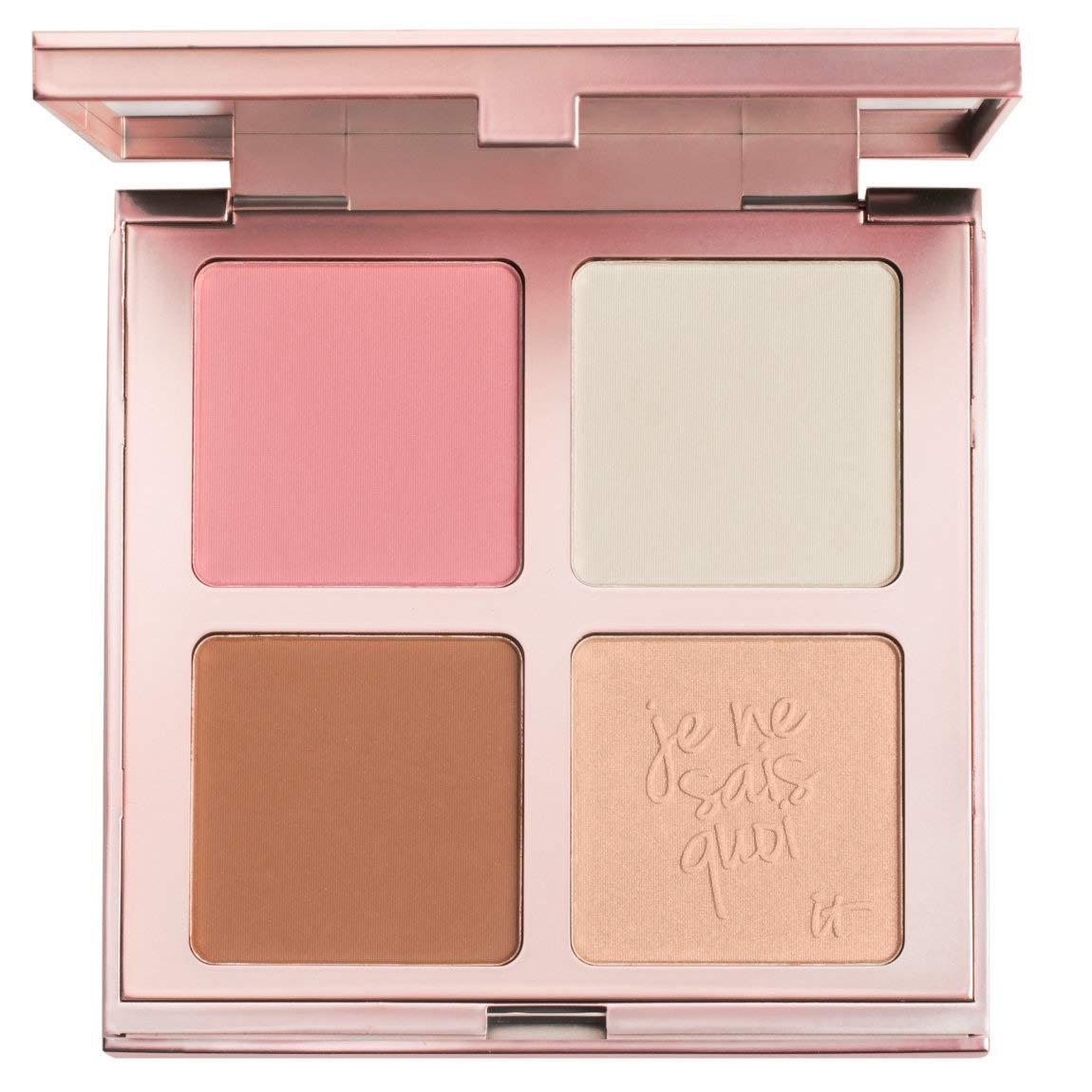 It Cosmetics Je ne Sais Quoi Complexion Perfection Face palette Bye Bye con pori blush, pori polvere pressata, Sunshine in un compatto e perfetta illuminazione illuminatore