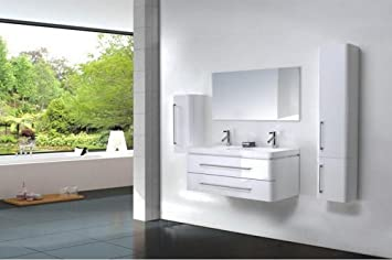 Ensemble salle de bain double vasque laqué blanc 120 cm - EMY ...